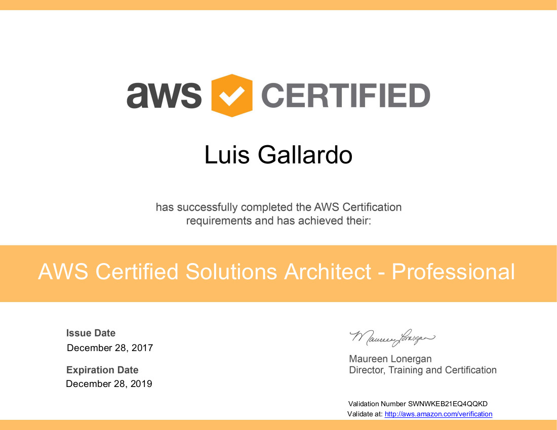 Aws Certified Solutions Architect Professional Lgallardo